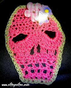 Free Crochet Skull Motif Pattern By Niftynnifer ☀CQ #crochet #applique