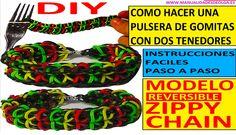 COMO HACER UNA PULSERA DE GOMITAS ZIPPY CHAIN CON 2 TENEDORES SIN TELAR ...