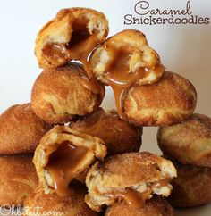 Caramel Crescent Snickerdoodles...these 3 ingredient cinnamon sugar coated crescents are filled with oozing caramel. Serve them warm!
