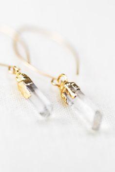 Hokupa'a earrings quartz point earring gold