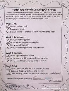 YAM Drawing Challenge- Adventures of an Art Teacher