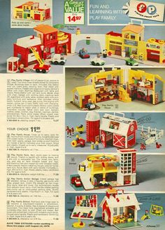 1975 JC Penny Catalog Fischer Price retro 70s, the 1975, fisher price toys, toy retro, little people, barn doors, jc penni, fischer price toys, kid