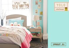 Like a baby robin's egg, Sprout .01 is a gender-neutral blue-green that brings a smile to faces on people big and small!  Pair this happy hue with Land of Nod's Ever After bedding to create a space packed with lots of personality- just like your little one!