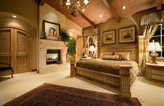 The pic said it's french style, but I think this is more to Italian / Greece style. Master Bedroom Ideas with Simple Design master bedroom ideas with Tuscany style – asapela home design - via http://bit.ly/epinner #tuscan #bedroom