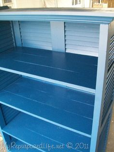 Repurposed Shutter bookshelf