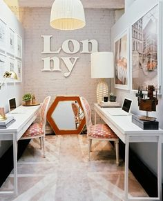 Shared office from Peonies + Brass. #laylagrayce #office
