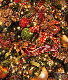 Christmas Decorating- Christmas Tree Close up! Look at that BOW! Polka Dots and Leopard Print!