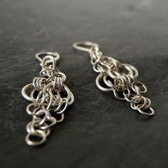 Chainmaille Chandelier Earrings in Sterling Silver by anatomi