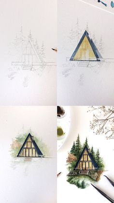A frame cabin watercolor illustration mini tutorial with step by step process photos of how I painted it.  #tutorial #art #artist #painting #paintingtutorial #paintingtips #artwork #watercolour #watercolor #painting #paintingart #processart #cabin #wilderness #nature #landscapepainting
