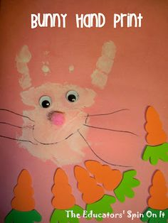 Bunny Hand Print and other Easter Crafts for Kids from The Educators' Spin On It