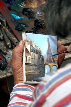 Artist at work in Paris