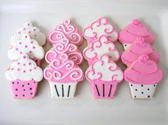 cupcak sugar, white cupcak, pink cupcakes, cupcake sugar cookies