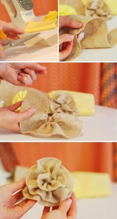 #DIY: Easy Fabric Flowers.  These flowers make an elegant edition to any gift and are so easy to make.