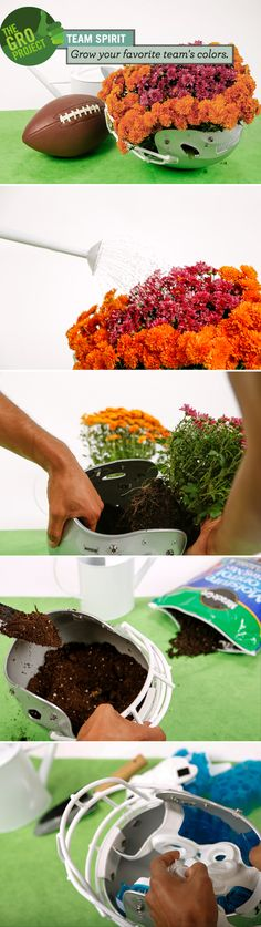 Combine your love of flowers with your love of football. #DIY #Projects #TeamSpirit