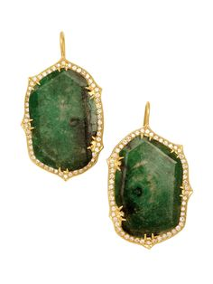 Sylva & Cie 18k Yellow Gold Emerald Slice and Diamond Drop Earrings. Available at London Jewelers!