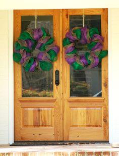 Two Mardi Gras Deco Mesh wreaths for double doors