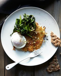 Poached egg with sauteed ramp greens.