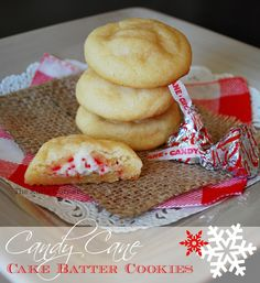 Candy Cane Cake Batter Cookies 1 cup flour 1 cup yellow cake mix 1/2 cup unsalted butter, softened 1/2 cup white sugar 1 teaspoon almond extract 1/4 teaspoon salt 3 tablespoons milk 24 candy cane Hershey's kisses
