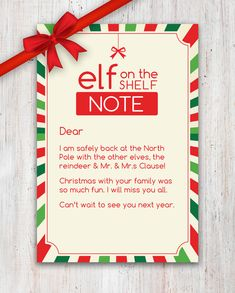 "A sweet Elf on the Shelf ""Goodbye"" Note! Good idea for the to do for the kids after Christmas! #Xmas #Elf #Printable #Etsy"