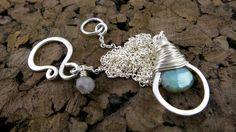 Labradorite Wrapped Hoop Necklace