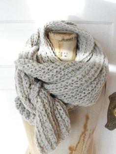 beautiful oatmeal knit scarf.
