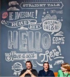 cool type with Rick Barrack studio, chalkboard walls, blackboard, chalk lettering, font, hand drawn, chalk design, curtain, hand lettering