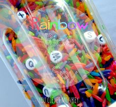 DIY Rainbow Rice I-Spy - perfect for building early literacy skills.  Visit http://youclevermonkey.com to see more