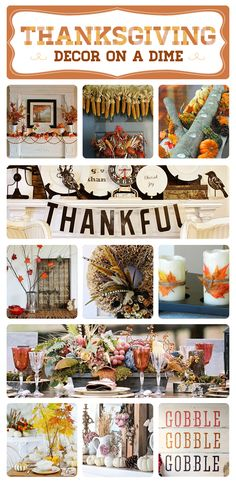 60 Inexpensive Thanksgiving Decor Ideas- (I don't have enough stuff for a Thanksgiving board, so I guess I'll pin it here.)