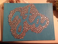 Sorority crafts, letters in cursive and rhinestones