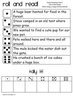 Fluency #1- Students will get into partners. Then they will take turns rolling the dice. They match the number that they rolled with a sentence on their worksheet. They tally how many times they can correctly say the sentence without struggling. This is a fun way to practice reading aloud, and the teacher can make the sentences related to what they are learning in class. roll and read, teacher, kid