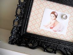 MAGNETIC BOARD Picture Frame Black and Pink Nursery Decor