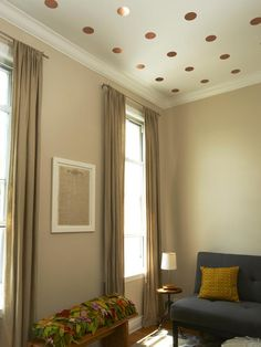 Add Playful Polka Dots (made from gold metalic contact paper) on Your Ceiling : Interior Remodeling : HGTV Remodels