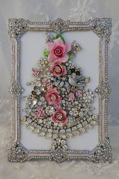 Vintage Jewelry Framed Christmas Tree ♥ Pink Roses Clear Rhinestones Dove | eBay pink roses, frame, vintage jewellery, pink christma, costume jewelry, old jewelry, diy christmas tree, christmas trees, jewelry tree