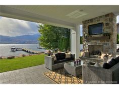 A breathtaking outdoor living area. West Kelowna, BC Coldwell Banker Horizon Realty
