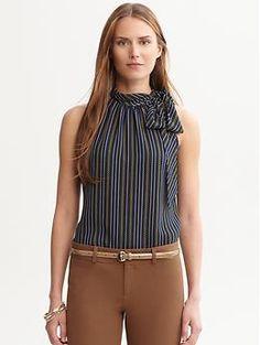 Sandra printed tie-neck blouse | Banana Republic