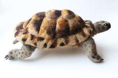 Needle Felted Tortoise Large Tortoise Sculpture by YvonnesWorkshop