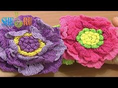 ▶ Crochet Large Flower Tutorial 62 Part 2 of 3 Crochet Large Petals In Rows - YouTube