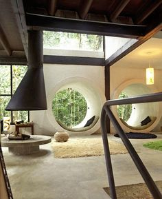 Love the round windows interior, living rooms, fireplac, circl, beach houses, jungl, reading nooks, place, window seats