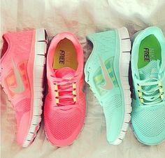 Nike Free Runs | Pink and Green