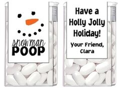 Christmas Snowman Poop Tic Tac Labels. Christmas Tic Tac Labels are fun Christmas party favor ideas for adult parties or for children's parties.