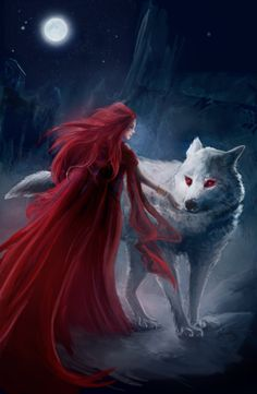 Melisandre and Ghost by Nekoeevee