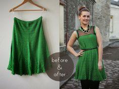 Pearls & Scissors: Refashionista: Knit skirt into dress