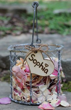 Rustic Flower Girl Basket, Vintage Inspired,  Wire With Wood Handle, Personalized Heart, Rustic Wedding, Shabby Chic Wedding. 36.50, via Etsy.