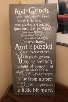 The Grinch Christmas Sign. $35.00, via Etsy. I MUST HAVE THIS!!!
