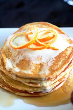 Orange Cloud Pancakes by the curvycarrot: Mmm, light and fragrant! Made with cottage cheese, eggs, orange juice, orange peel, vanilla and almond extracts, cinnamon, nutmeg and whole wheat flour!
