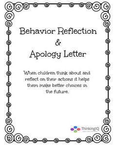 Behavior Reflection Worksheet & Apology Letter