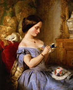 """Taking Tea in the Drawing Room"" by Arthur Hughes"