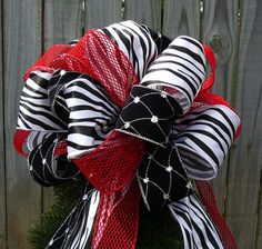 Christmas Tree Topper Animal Print and Bright Red by HornsHandmade, $81.00