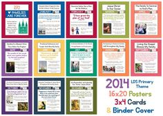 2014 LDS Primary Yearly & Monthly Theme Posters, Binder Cover, 3x4 Cards