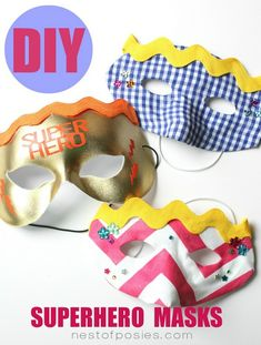 DIY Superhero Masks for the kids! Perfect for everyday fun or for Halloween! tutorial at TidyMom.net